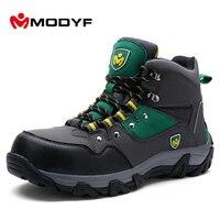 MODYF Men Winter Steel Toe Work Safety Shoes Warm Ankle Boots Fashion Zipper Puncture Proof Footwear