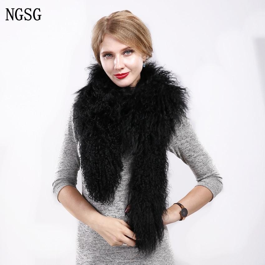 160cm Solid Black Winter Real Mongolian Lamb Fur Scarf For Women Down Jacket Beach Sheep Wool Woolen Collar Female Gray Scarves