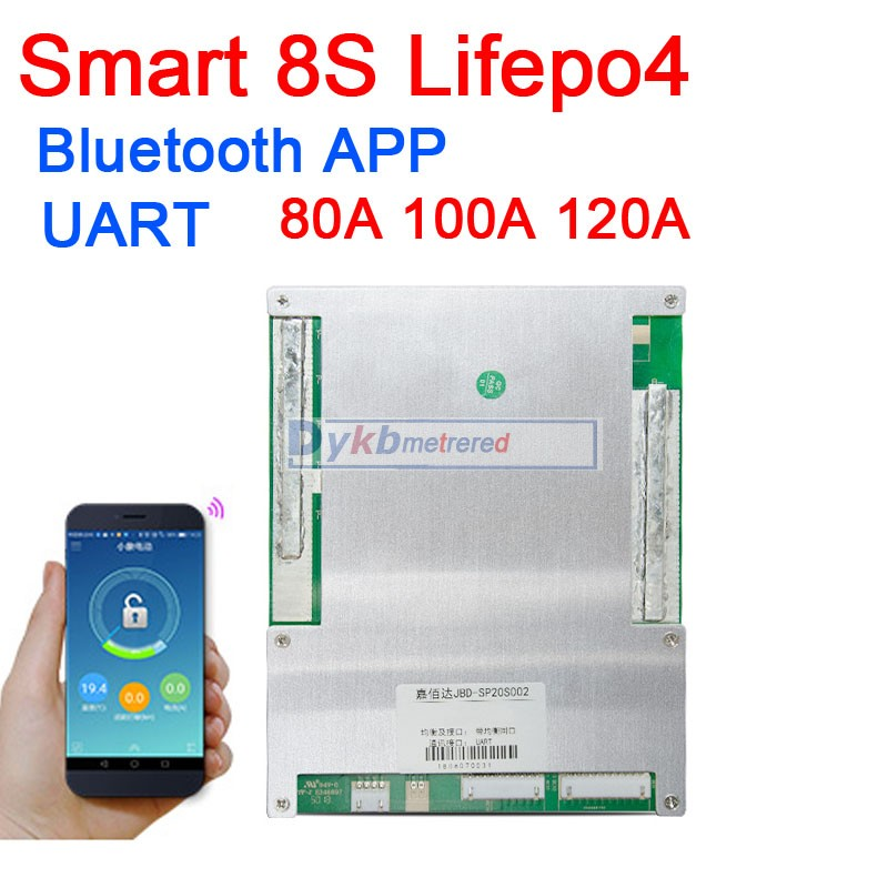 Smart 8S 80A 100A 120A Lifepo4 Lithium Iron Phosphate BMS Battery Protection Board W Balance Bluetooth APP UART Sof