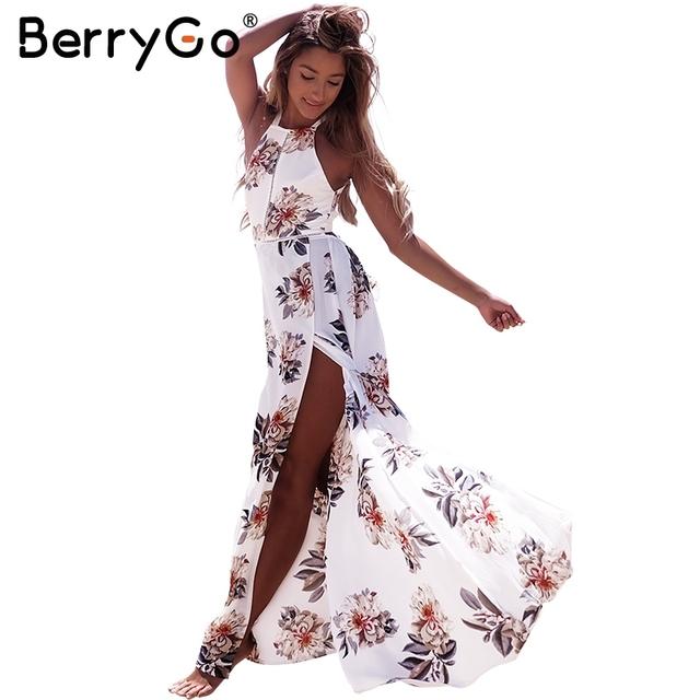 BerryGo Floral print halter chiffon long dress Women backless 2017 maxi dresses vestidos Sexy white split beach summer dress