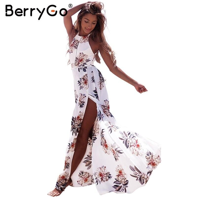 BerryGo Floral print halter de gasa largo vestido de Las Mujeres backless 2017 v