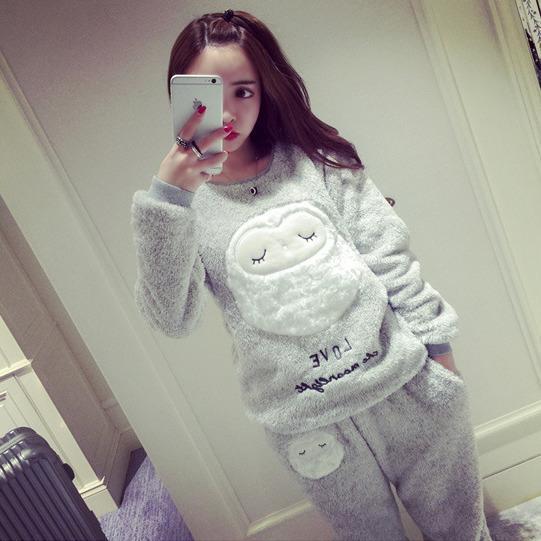Женщины Зима Пижамы коралловый флис пижамы Леди большие размеры утолщение овец одежды для отдыха костюм пункт теплый фланель pijamas mujer