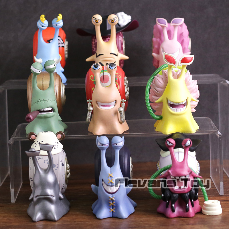One Piece Transponder Snail Jinbe Mihawk Doflamingo Teach Kuma Moria Den Den Mushi Figures Toy Collectible