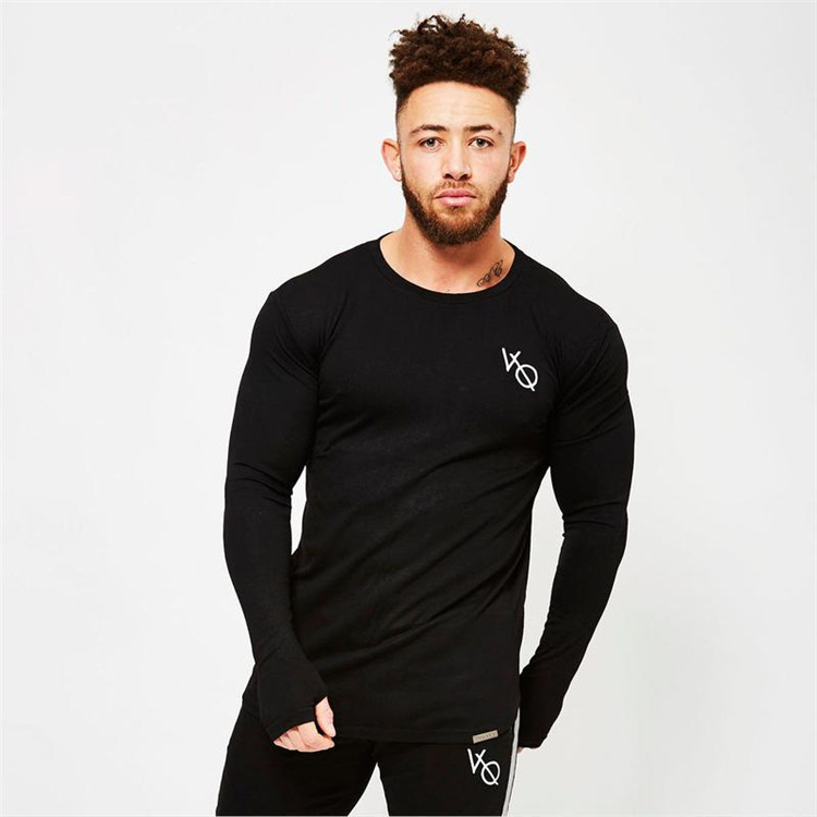 New Fashion Brand Men Clothes Solid Color Long Sleeve Fitness Bodybuilding Slim Fit T Shirt Men Cotton Men Casual T Shirts