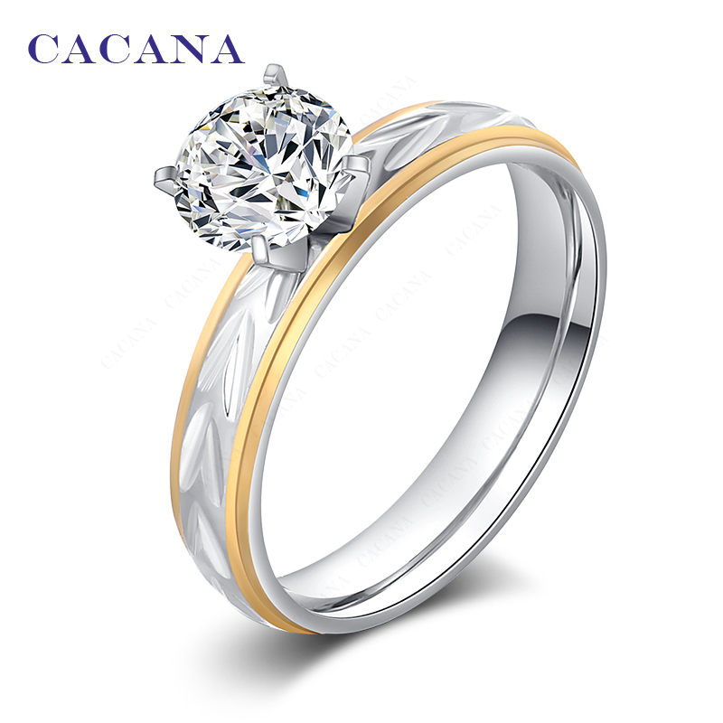 CACANA stainless steel rings for women  18k gold plated fashion jewelry wholesale NO.R108