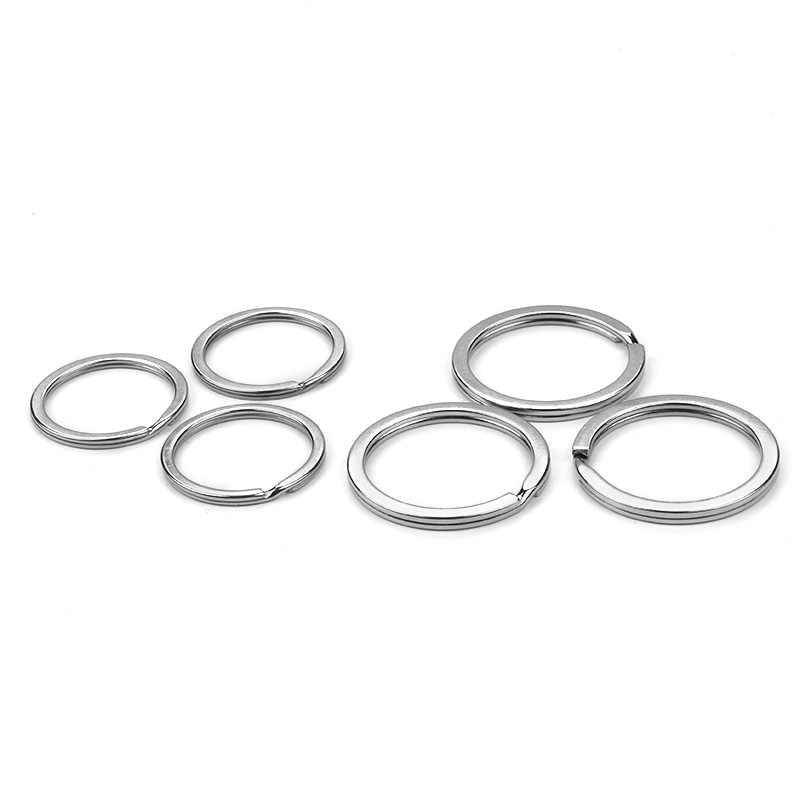 10 pçs/lote Liga de Metal Cor Prata Rodada Chave anéis Chaveiros DIY Jóias 25mm/30mm