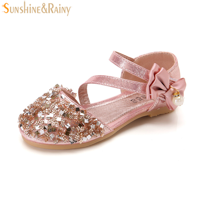 Children Shoes Glitter Girl Sandals Kids Girls Shoes Square Low-heeled  Dress Party Princess Shoes Pink  Silver Gold EUR 21-30