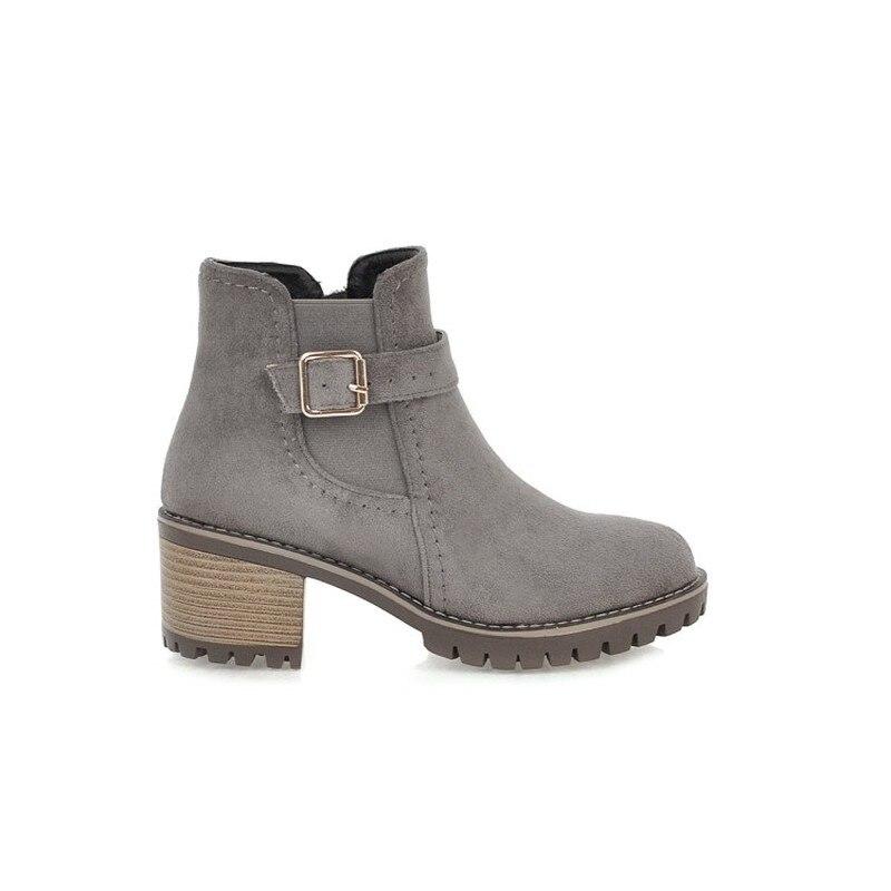 Rond Femmes Lxunyi gris Bout Bottes 2018 Chaud Troupeau Mode Hiver Cheville Plate Pour Boucle Noir Chaussures forme Au Garder De qgq8wv4rx