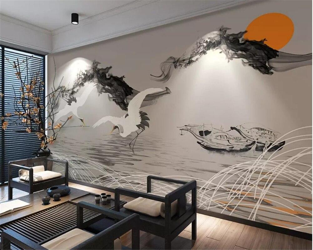 Купить с кэшбэком beibehang Custom abstract smoke landscape classic wallpaper fishing boat crane new Chinese background wall papers home decor