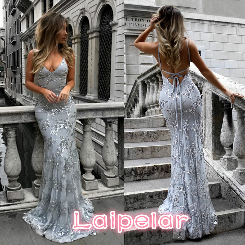 Strapless Sequined Summer Dress Women 2018 Sexy Backless Maxi Party Dress Vintage Slim Mermaid Desses Female vestidos
