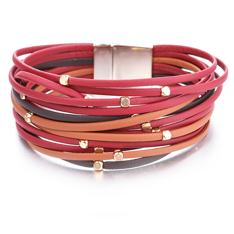 ALLYES Metal Beads Genuine Leather Bracelets For Women 2018 Fashion Slim Strips Boho Multilayer Wide Wrap Bracelet Femme Jewelry in Wrap Bracelets from Jewelry Accessories