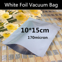 Wholesale100pcs 10cmx15cm (3.9'' * 5.9'') 170micron Small White Vacuum Foil Packaging Bag High Quality Open Top Foil Bag