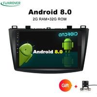 Funrover 2 Din Android 8.0 OS Autoradio Samochodowy Odtwarzacz DVD Nawigacji GPS dla Mazda 3 Axela 9 cal elink wifi rds bluetooth Nie DVD
