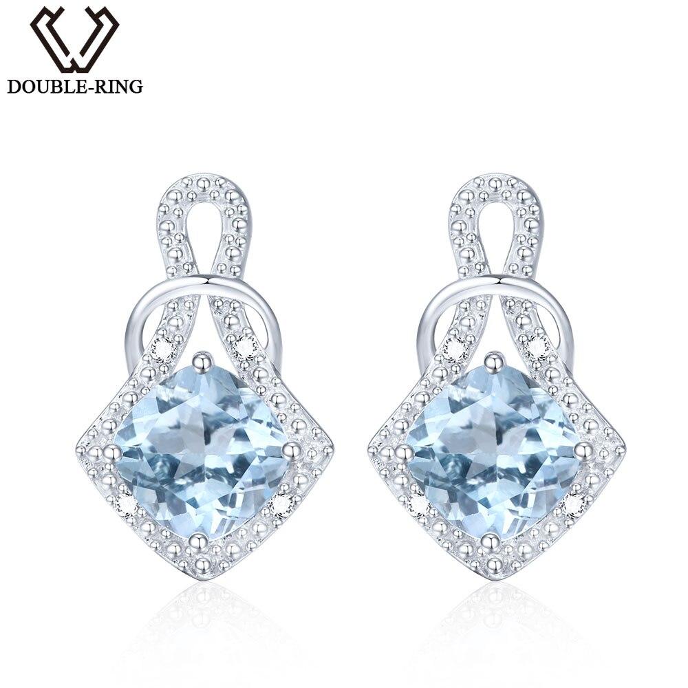 цена на DOUBLE-R Genuine Natural Blue Topaz 925 Sterling Silver Earrings Gemstone Earrings For Women Blue Earrings