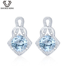 DOUBLE-R Genuine Natural Blue Topaz Stud Earrings 100% Real 925 Sterling Silver 2017 Trendy Fine Jewelry Earrings For Women