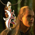 The Lord Of  Elf Prince Legolas Greenleaf pendant necklace vintage black leather armor pattern chain collar men male