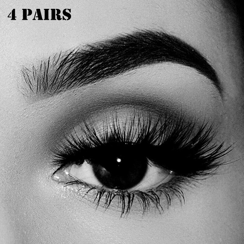 4pairs 3D Handmade Mink Eyelashes Natural Long Fake Eyelashes Crisscross Thick False Eye Lashes Makeup Thick False Eyelashes Set monochrome