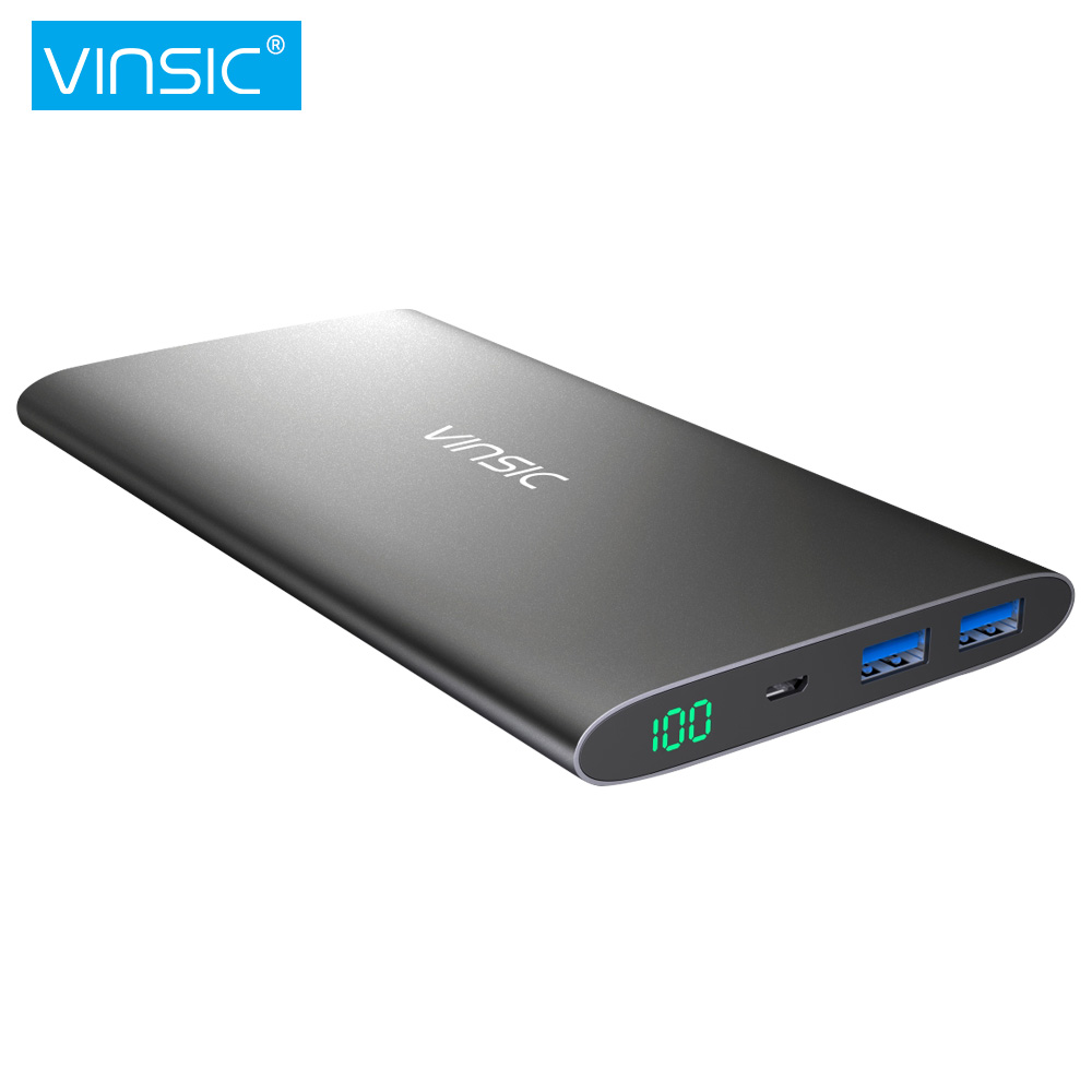 Vinsic Alien P11 12000mAh Power Bank 2 4A Dual USB LED Display External Battery Charger Packup
