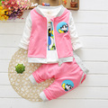 new spring autumn baby suits 100% cotton cartoon coat + T shirt + pants boys and girls apparel brand  3pcs/sets Free shipping
