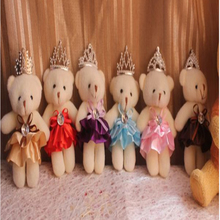 12pcs free shipping Fashion 12cm Cartoon Lovely Crown Bear Baby stuffed Plush Toys wedding birthday party best gift wholesale
