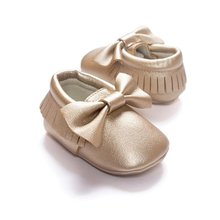 Unisex Toddlers Baby Shoes Soft Soled Tassel PU Leather Crib Shoes Bow First Walkers Without Logo