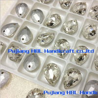 Droplet Sew on Rhinestones Crystal Clear Color Flatback Pear Shape Sewing Fancy Stone Jewelry Making 2holes