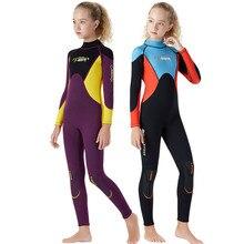 Неопреновый гидрокостюм 2,5 мм для всего тела, теплый костюм для дайвинга для девочек, детский купальник для серфинга, Сноркелинга, зимний купальник