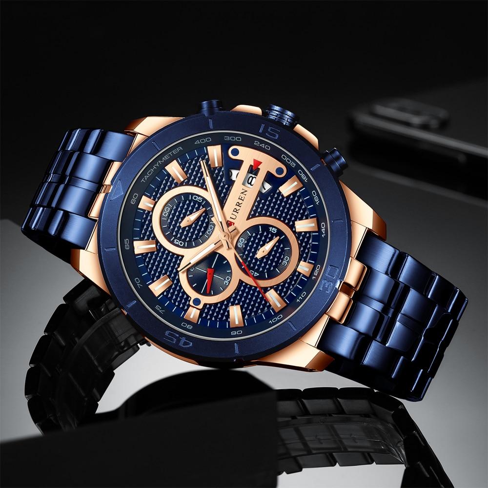 HTB1FBuCcBKw3KVjSZTEq6AuRpXac CURREN Business Men Watch Luxury Brand Stainless Steel Wrist Watch Chronograph Army Military Quartz Watches Relogio Masculino