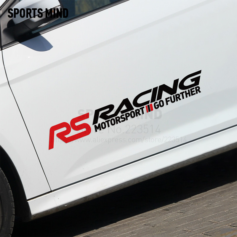 10 Pairs SPORTS MIND RS RACING Car Stickers Door sticker For ford focus 2 mk2 fiesta mk7 mondeo fusion kuga exterior accessories