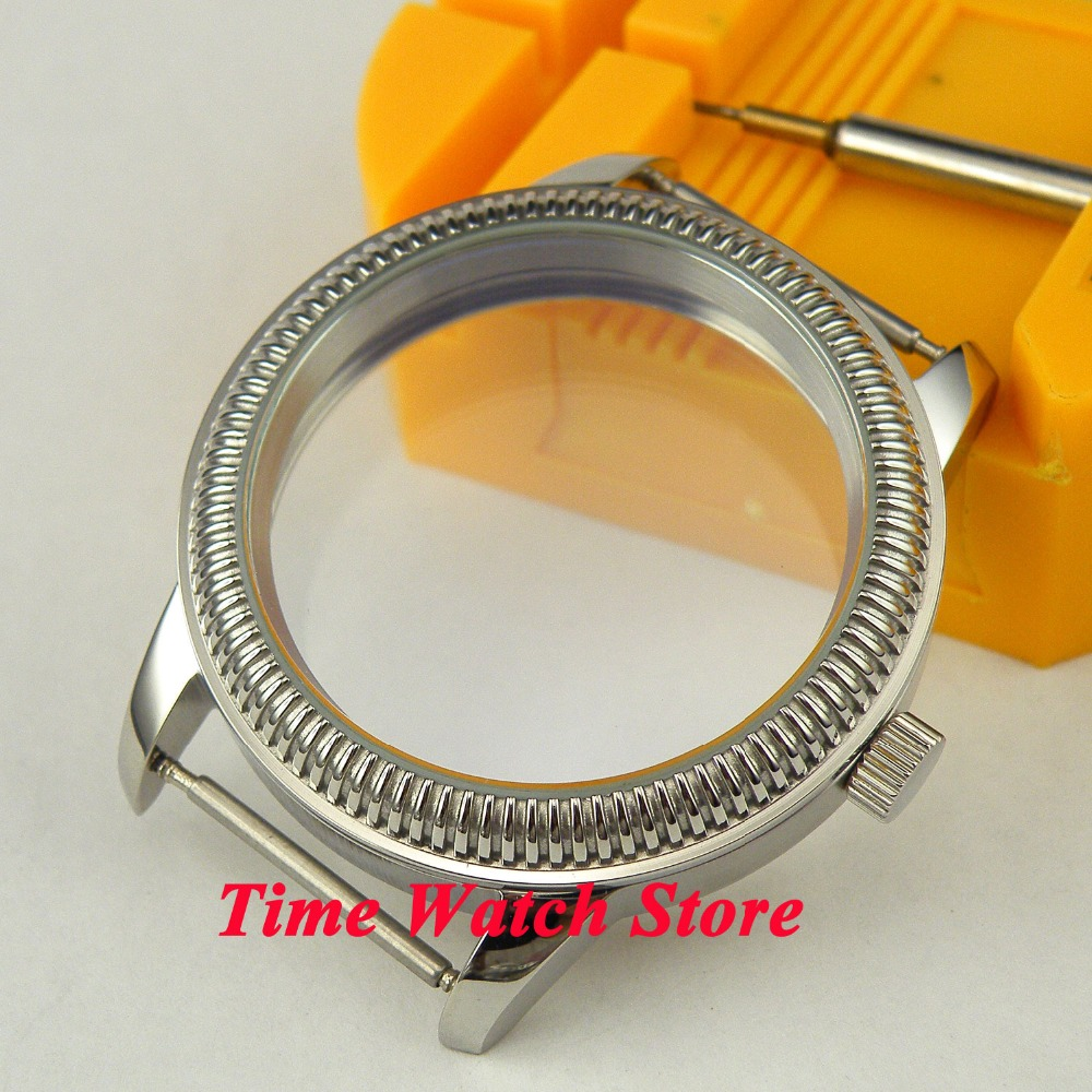 44mm Parnis Fit 6497 6498 movement coin bezel polished stainless steel watch case C7 44mm polished stainless steel watch case with coin bezel fit for eta 6497 6498 hand winding movement c6