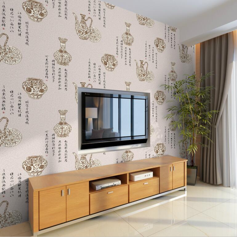 Купить с кэшбэком Classical Wallpaper Chinese Blue and White Porcelain Vase Restaurant  Living Room Study Wallpapers