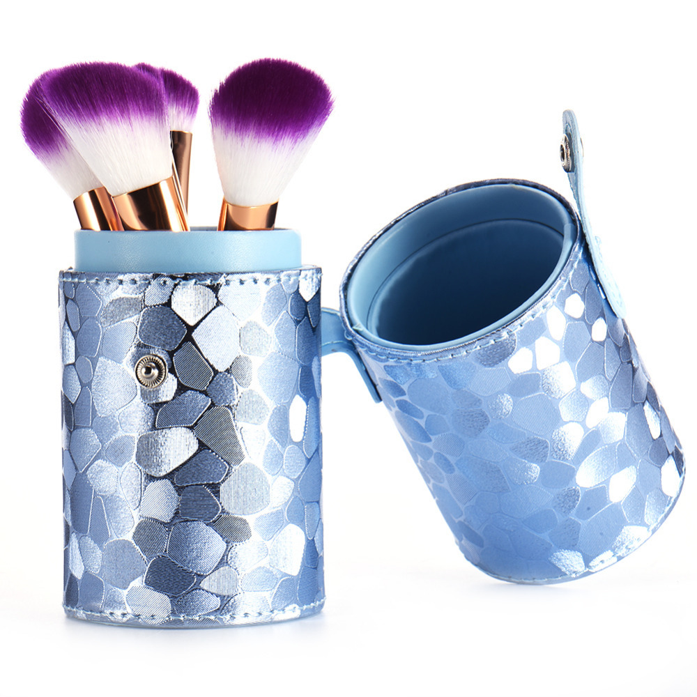 Mermaid color Leather Makeup Brushes Brushes Pen Holder case empty Storage Tube case for makeup brushes container Dispaly stand hot pro makeup brushes kits flower leather cup holder comestic brushes empty case 4 color free shipping
