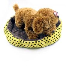 Winter Warm Pet Bed For Small Dog Soft Fleece Dot Design Pet Nest With Removable Pet Mat Octagon Shape Kennel Cat Puppy 40x32cm
