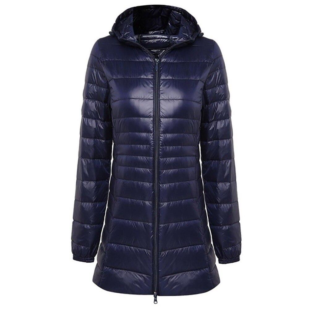 2018 Winter Warm Long Coat Woman Ultra Light 90% Duck Down Jacket Female Overcoat Slim Jackets Coat Portable Hooded Parkas Plus