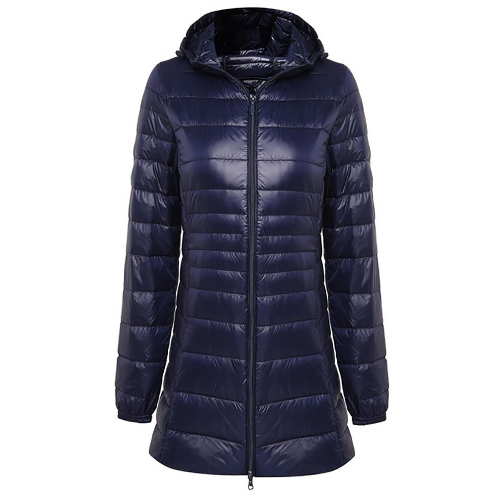 2018 Winter Warm Long   Coat   Woman Ultra Light 90% Duck   Down   Jacket Female Overcoat Slim Jackets   Coat   Portable Hooded Parkas Plus