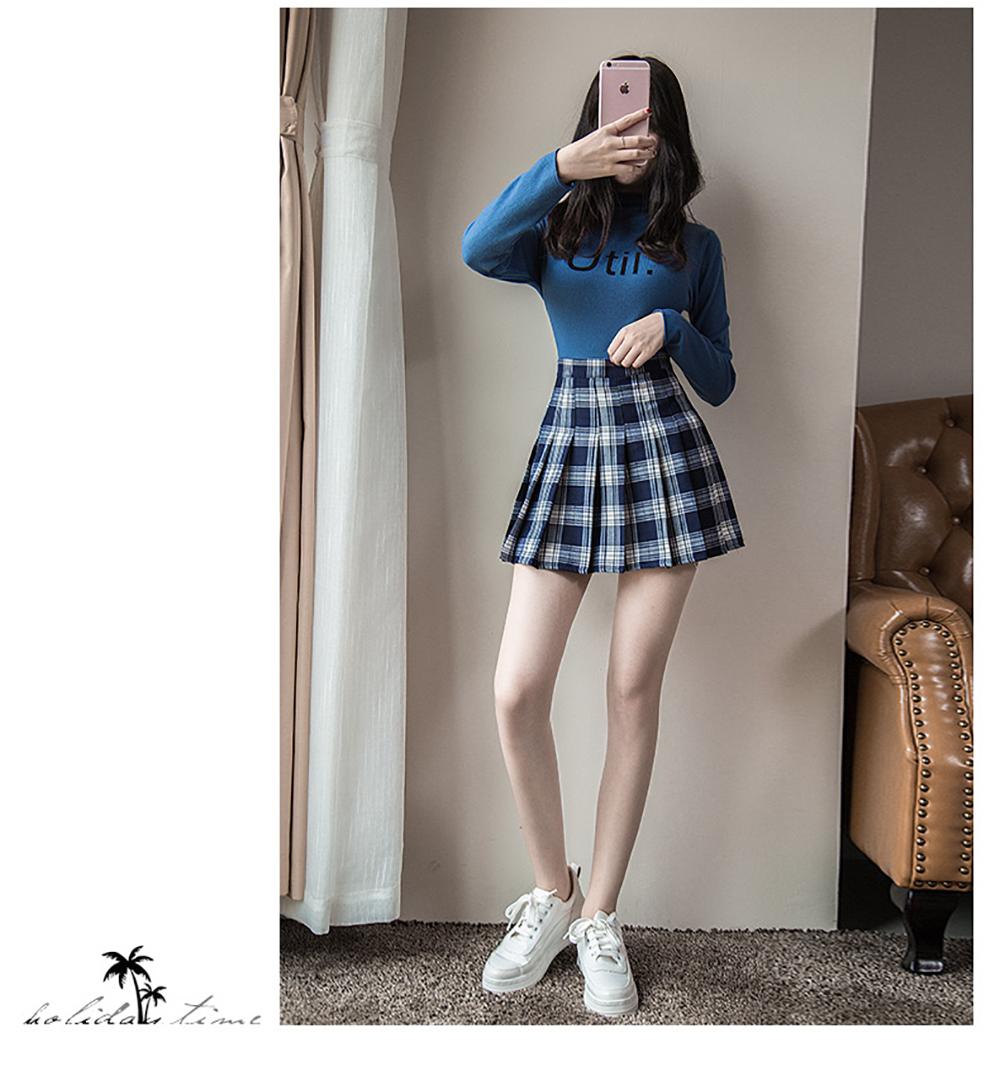 Plus Size Harajuku Short Skirt New Korean Plaid Skirt Women Zipper High Waist School Girl Pleated Plaid Skirt Sexy Mini Skirt 7