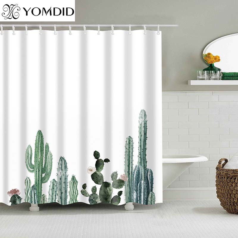 Tropical Cactus Shower Curtain Polyester Fabric Bath For The Bathroom Decorations Multi Size Printed Curtains