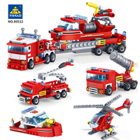 KAZI City Firefighter 348pcs Fire Fighting 4in1 Helicopter Boat Car Trucks Building Blocks Educational Toys for Children
