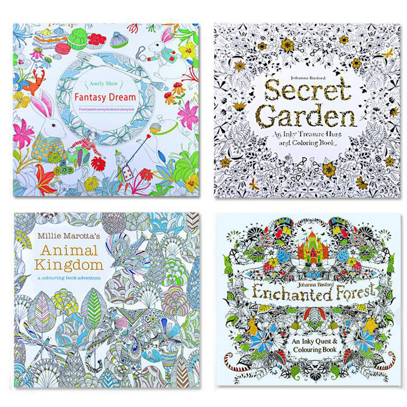 4 Pcs /lot 2016 New Arrival Relieve Stress For Adult Painting Drawing Book 24 Pages  Kill Time Colouring Books