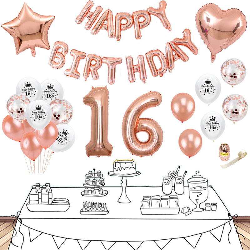 26pcs Rose Gold Decoration Party 18 birthday party Decorations Adult 30th Birthday Balloons Sweet 16