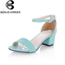 BONJOMARISA Blockabsatz Frauen Sandalen Knöchelriemen Offene spitze Strömen Sommer Schuhe Frau Plattform Sandalen Big Size 34-43