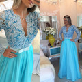 2017 Blue Long Sleeve Chiffon Lace Prom Evening Dresses With Pearls Appliques Beaded Formal Party Gown Vestidos de fiesta EP121