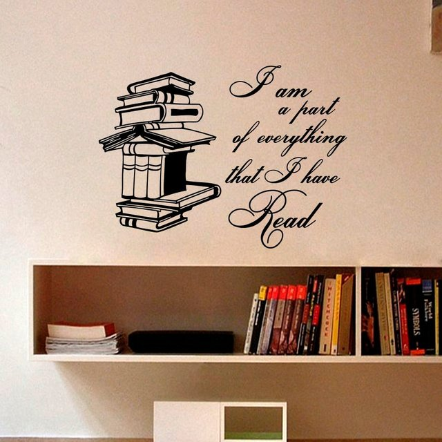 book with quotes vinyl wall stickers art mural removable libary