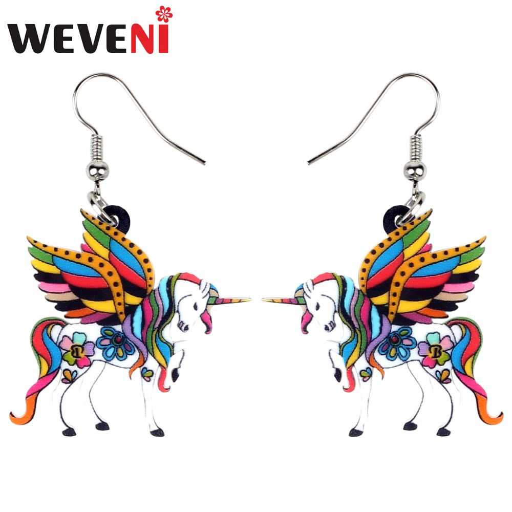 WEVENI Acrylic Elegant Floral Unicorn Flying Horse Earrings Dangle Drop Fashion Fairy Holy Animal Jewelry For Women Girl Brincos
