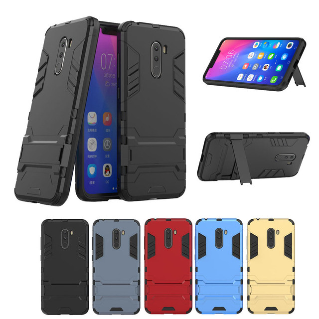 the best attitude 6c873 5665b US $2.72 26% OFF|Phone Case Poco F1 Rugged Case Shockproof Hybrid Armor  Stand Cover For Xiaomi pocophone F1 2018 New Cellphone Case Cover -in  Wallet ...