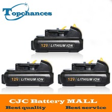 3PCS High Quality power tool Battery For Dewalt 12V 2.0Ah 2000mah MAX Li-ion DCB120 DCD710 DCF813 DCF815 DCF610