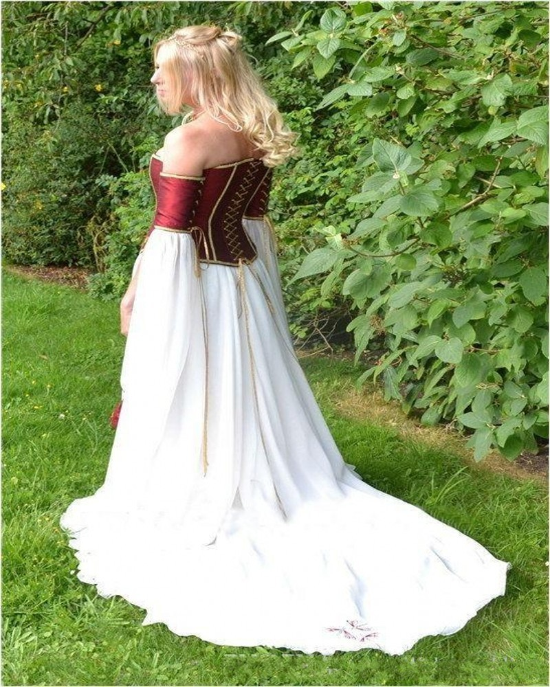 Dragenfly Embroidery Renaissance Burgundy Satin Corset Wedding Dress Laceup Armband Meval Cold Shoulder Strapless Bridal Gown In Dresses From
