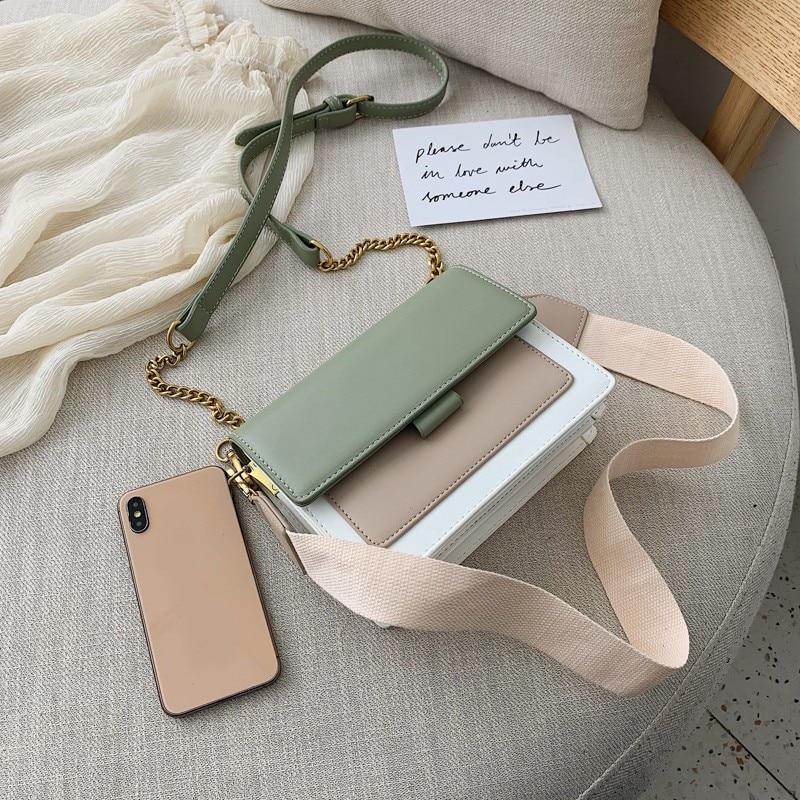 Purses Handbags Messenger-Bag Crossbody-Bags Chain-Shoulder Leader-Show Green Fashion