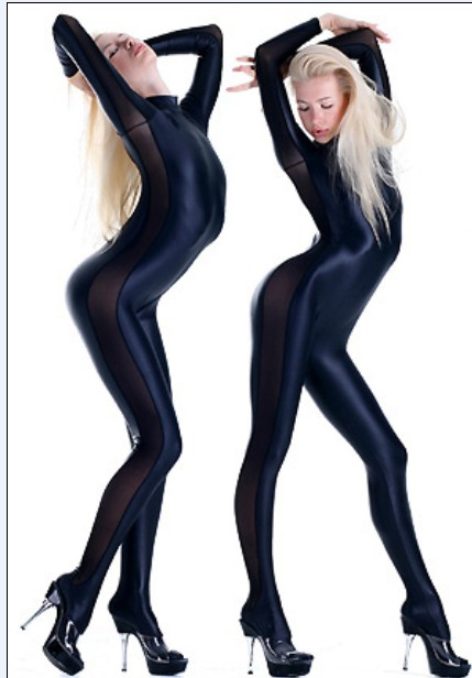 Special price! Zentai Full Body Costume black Shiny Metallic Zentai Suit with Side mesh Cosplay Costume Womens Lycra Jumpsuit