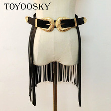 2018 Fashion Punk Long Tassel Fringe Belt for Women Rivet Wide Hook Up Double Buckle Belt Gold Buckle Ladies Corset Belt